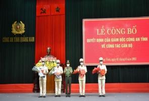 Công an Quảng Nam công bố quyết định điều động các đơn vị, địa phương