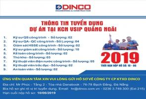 DINCO E&C TUYỂN DỤNG NHÂN SỰ CHO DỰ ÁN KCN VSIP QUẢNG NGÃI